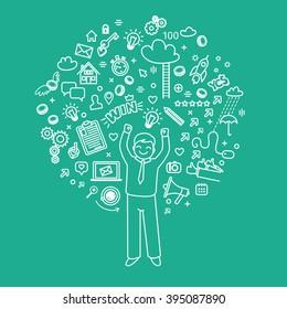 Concept of blogging. Business doodles. Vector illustration