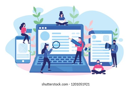 Concept Blogging, education, creative writing, content management for web page, banner, presentation, social media, documents, cards, posters. Vector illustration news, copywriting, seminars, tutorial