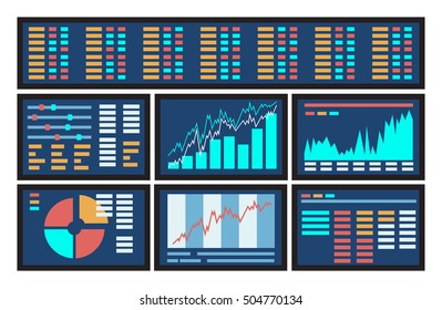 Concept of blue computer display screen with stock market graph diagram information. Vector illustration of business company financial balance stock exchange market