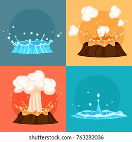 Concept of blue geyser and red-hot volcano four icons. Magma nature blowing up with lava flowing down set. Fountain or splash of hot water from ground. Vector illustration cartoon style flat design