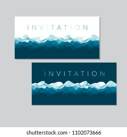 Concept blue sea water waves pattern. Ocean motif with white wave foam for header, card, invitation, poster, cover and other web and print design projects.