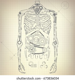 concept of blueprint of A.I. invention, robot body diagram