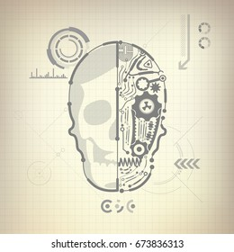 concept of blueprint of A.I. invention, robot brain and skull diagram