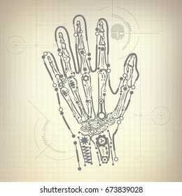 Concept blueprint ai invention robot hand stock vector royalty free concept of blueprint of ai invention robot hand and bone diagram malvernweather Images