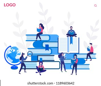 Concept book festival poster, vector illustration flat, small character reading a book, learning education, reading books in the library and in the classroom, University studies, Online courses.