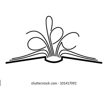 The concept of the book pages and letters