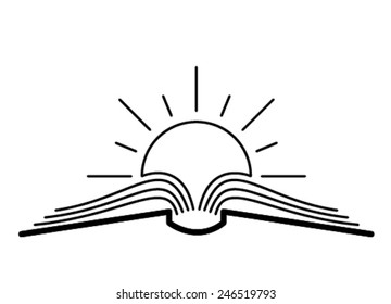 The concept of the book pages and sun.