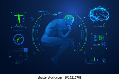concept of brain analysis or brain research, graphic of thinking man with medical technology interface