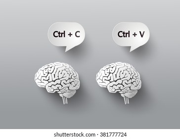 concept with brain. C and V for copy and paste.paper art style.