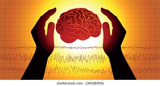 Concept of brain medicine with two hands symbolically protecting a brain in front of an electroencephalogram.