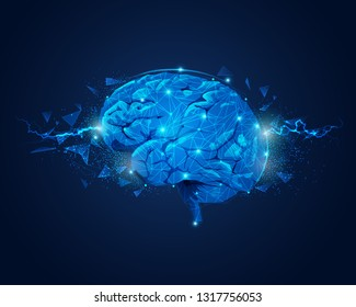 concept of brain power, graphic of brain with lightning and broken polygon element