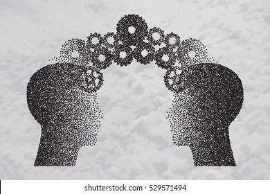 Concept of Brain storming, Knowledge sharing between to people head, this was shown through cogwheels transferring from one human brain to other. Particle divergent composition. Vector illustration