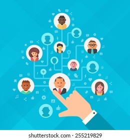 Concept of building social media audience. Human hand forming a tree of audience for social media marketing strategy, online business and advertising