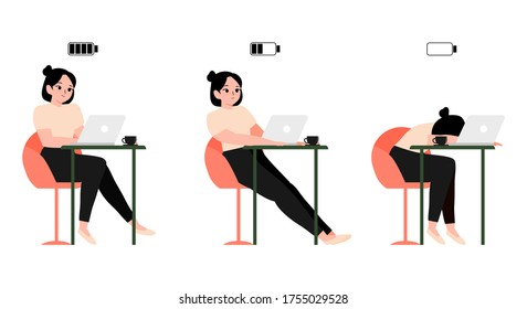concept burnout working woman or student sitting at a table and laptop with full, half and low battery. tired employee or student. Vector illustration happy, bored and exhausted female office worker