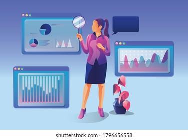 Concept of Business analytics, search engine optimization. The team of merchants analyzes sales, visitors, increases efficiency. A businesswoman with a magnifying glass. Marketing analytics, vector