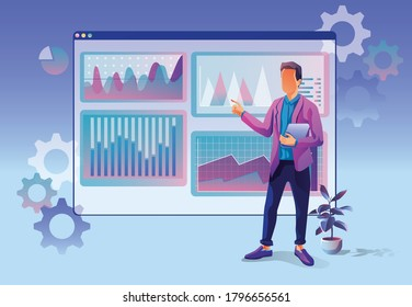 Concept of Business analytics, search engine optimization. The team of merchants analyzes sales, visitors, increases efficiency. A businessman with a laptop. Marketing analytics, vector illustration