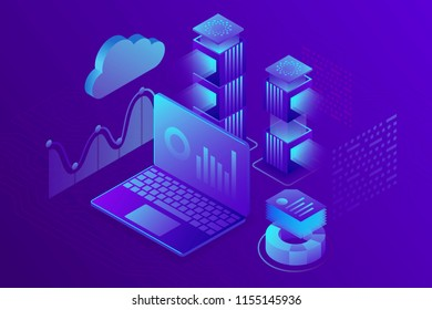 Concept business analytics, strategy of data financial graphs or diagrams. Financial review, Analysis data and Investment. 3d isometric vector illustration.