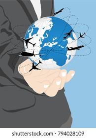 Concept of Business cartoon hand holding world map globe, Vector Illustration EPS 10.