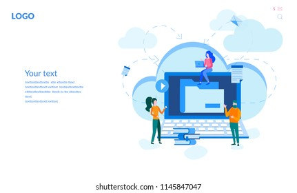 Concept business cloud computing, Data provision and cloud computing services for web page, banner, presentation, social media, documents, cards, posters. Vector illustration, networking communication