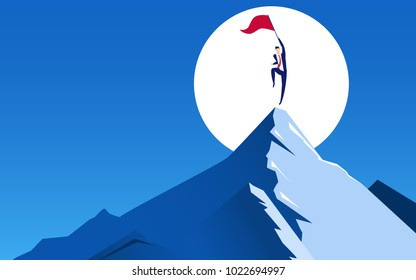 Concept of business financial success. Businessman holds flag jumping on top of mountain celebrating their success. Cartoon Vector Illustration.