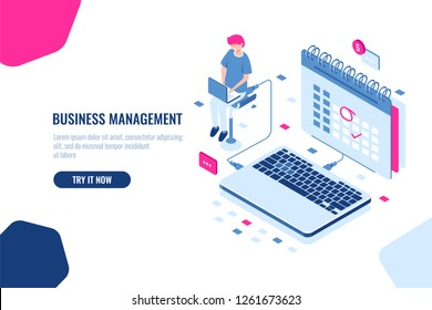 Concept of business manager, schedule in calendar, mark important Affair and event on the calendar, online task management and control business. Isometric falt vector illustration cloud