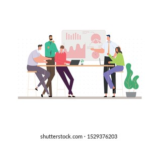 Concept of business meeting. exchange ideas and experience. coworking people. collaboration and discussion. vector illustration