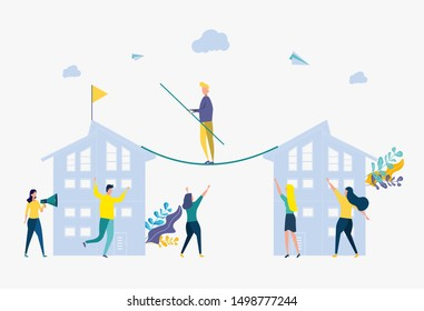 The concept of business motivation and ambition, a business team overcomes obstacles and succeeds. Office worker succeeds in a career.