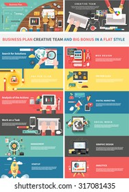 Concept of a business plan and creative team. Startup and analytics, social media, work task, web and graphic design, solution, and pay per click, strategy business illustration