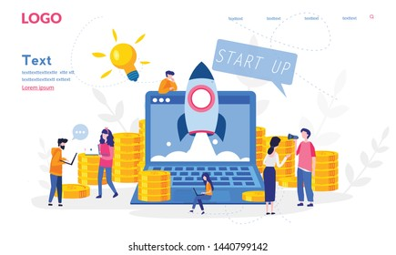 Concept Business project startup process for web page, banner, presentation, documents, cards, posters. startup idea launching, project management Vector illustration financial strategy, idea