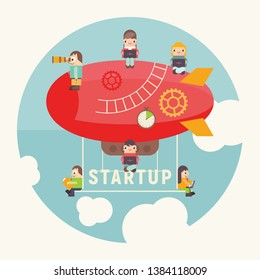 Concept of Business Startup. Funny Cartoon People Fly on Airship. Cohesive Teamwork in the Startup. Vector Illustration for Web Page, Banner, Social Media and Landing Page.