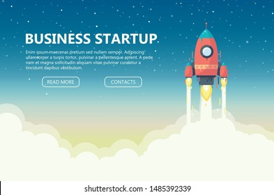 Concept of  business startup. Launch a red rocket into space. Development of business.