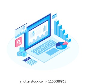 Concept business strategy. Analysis data and Investment. Isometric elements. Business success.Financial review with laptop and infographic elements. 3d isometric flat design. Vector illustration.