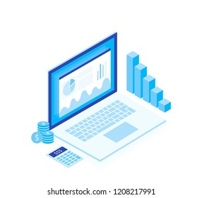 Concept business strategy. Analysis data and Investment. Isometric elements. Business success.Financial review with laptop and infographic elements. Isometric design. Vector illustration.