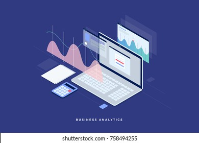 Concept business strategy. Analysis data and Investment. Business success.Financial review with laptop and infographic elements. 3d isometric flat design. Vector illustration.