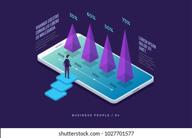 Concept business strategy. Businessman standing in front of smartphone screen and looks at growth statistics. Success in the business. 3d isometric flat design. Vector illustration.