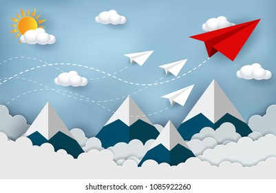 concept of business success, Paper plane red and white flying on sky between cloud and mountain. Beautiful natural landscape. To the target. creative idea. leadership. vector illustration