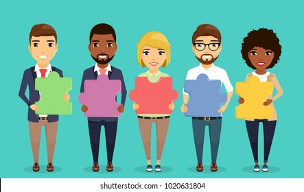 The concept of the business team. Team of business people with puzzles in hands. Ethnically different. Guys and girls in the team. In flat style. Cartoon.
