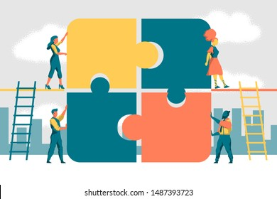 Concept of business teamwork. Team metaphor. Contemporary people connecting puzzle. Vector illustration flat design style. Symbol of teamwork, communication, cooperation, partnership.