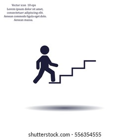 Bon Concept, Businessman On Stair Or Steps, Metaphor To Success, Climb,  Business,