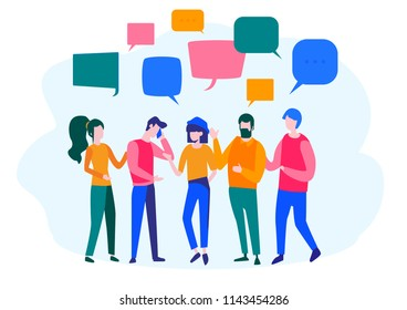 Concept businessmen discuss social network, recruitment, for web page, banner, presentation, social media, documents, cards, posters. Vector illustration  chat, dialogue speech bubbles, news, team