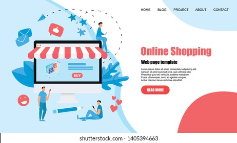 concept, buying online store. Website landing web page template