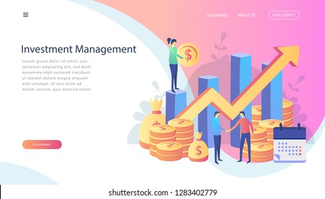 Concept c, Investment in innovation, marketing, analysis, security of deposits for web page, social media. Vector illustration guarantee of security financial, people shaking hands