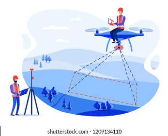 Concept cadastral engineers, surveyors and cartographers make geodetic measurements using a drone, copter. Vector flat illustration.