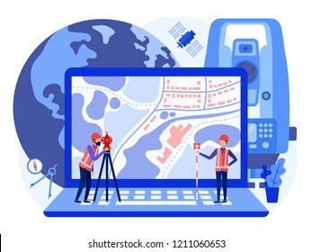 Concept cadastral engineers, surveyors and cartographers produce geodetic survey of the area using theodolite and map on a laptop. Vector flat illustration.