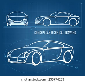 Concept car technical drawing showing front  side and offside orientations in a line drawing format on a blue background  vector illustration