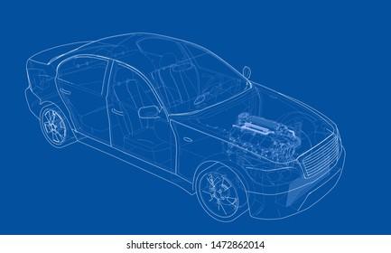 Konzept Auto. Vektorgrafik von 3d. Wire-Frame-Stil. Die Schichten sichtbarer und unsichtbarer Linien sind getrennt