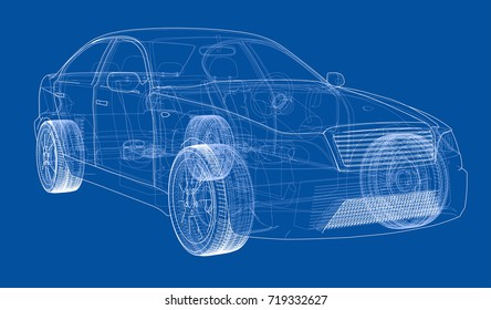Car blueprint images stock photos vectors shutterstock concept car vector rendering of 3d wire frame style the layers of malvernweather Images