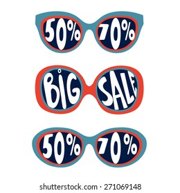 Concept card for sales. Sunglasses with handwritten sale and percents