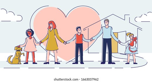 Concept Of Care And Adoption. Kind People Take Care Of Homeless Animals. Family Adopt Pets From Animal Shelter. Human Solidarity and Responsibility. Cartoon Outline Linear Flat Vector Illustration