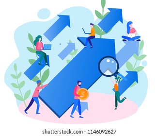 Concept career growth, career, start up, for web page, banner, presentation, social media, take-off on the career ladder. Vector illustration